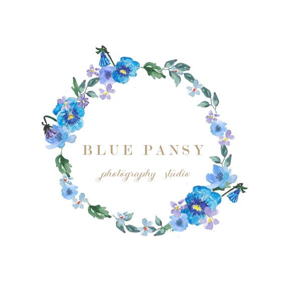 Watercolor blue wreathWreath logo design//Pansy by MillyBoutique