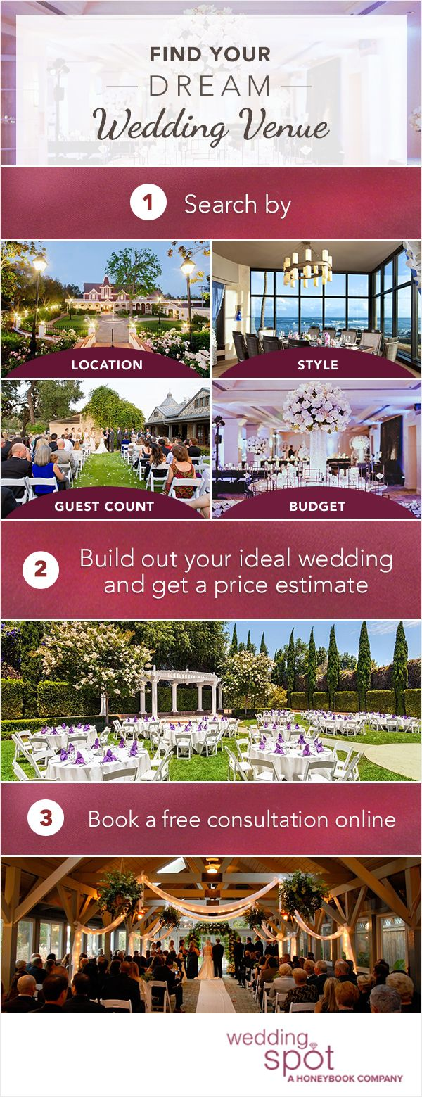 Find the perfect wedding venue without all the stress. Wedding Spot allows you to search, compare, price, and book appointments for thousands of beautiful venues near you. Get started today to book the wedding venue of your dreams!