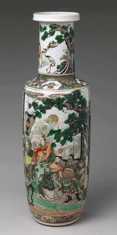 Vase with immortals offering the peaches of longevity, Qing dynasty (1644–1911), Kangxi period (1662–1722) China