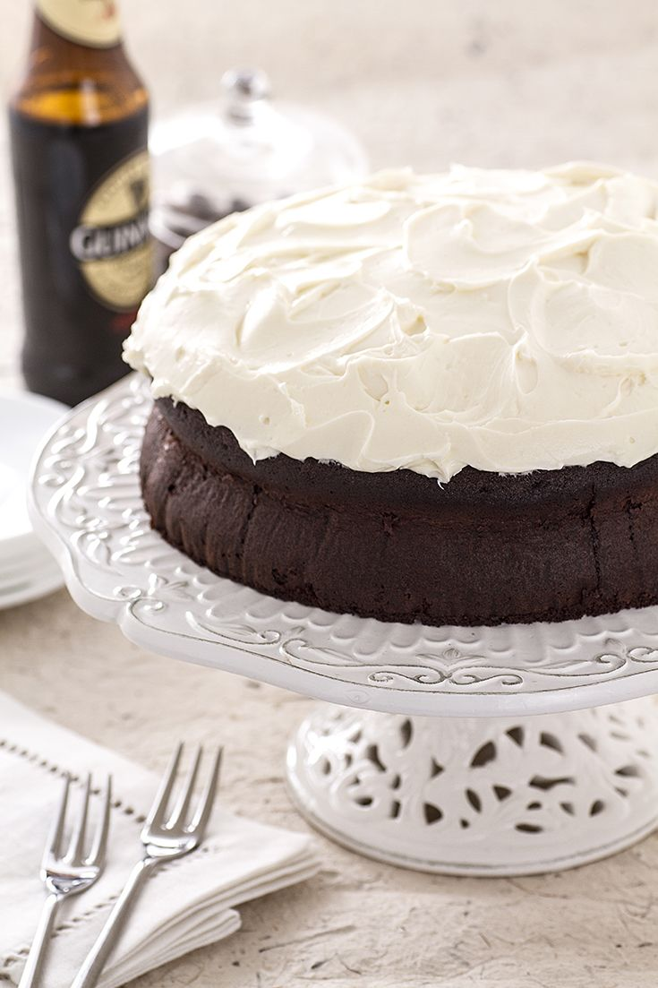 The #Chocolate #Guinness #cake resembles a pint of the famous #Irish #stout because of the contrast between the dark chocolate and the white topping!