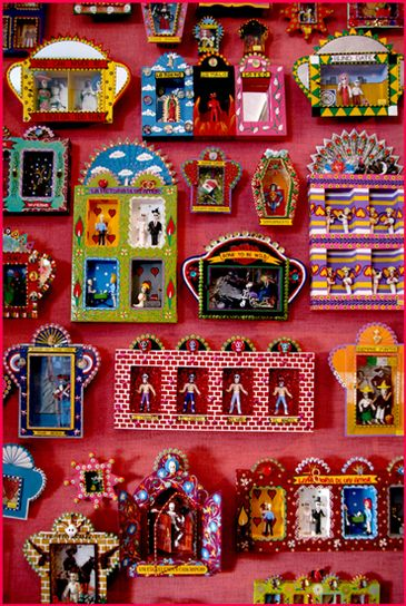"""In Mexican & South American cultures, small, decorated boxes called """"nichos"""" are commonly found in home & public places, displayed on walls or pedestals. Made from wood or tin & often painted with bright colors, they provide a stage-like setting for an object or collection of objects that have great significance. Most commonly functioning as an alter for a religious icon, a Nicho can also serve as a memorial to a loved one or as a reminder of an important event."""