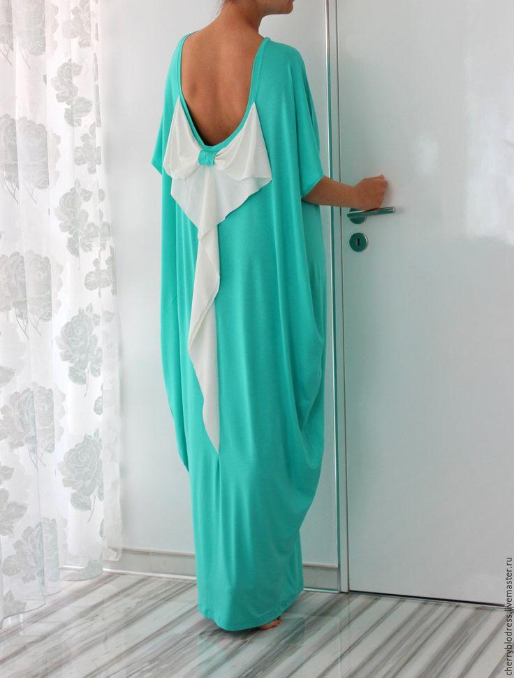 CHERRYBLOSSOMSDRESS Мятное макси длинное платье, кафтан, абайя с открытой спиной
