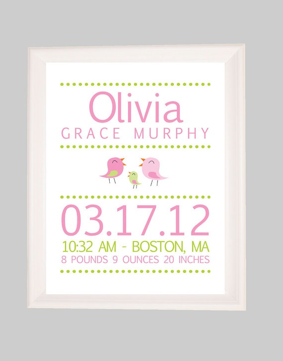 76 best olvia images on pinterest child room baby room and baby birth stats birth announcementbird nursery newborn gift baby girl nursery personalized baby gift printable nursery wall art negle Images