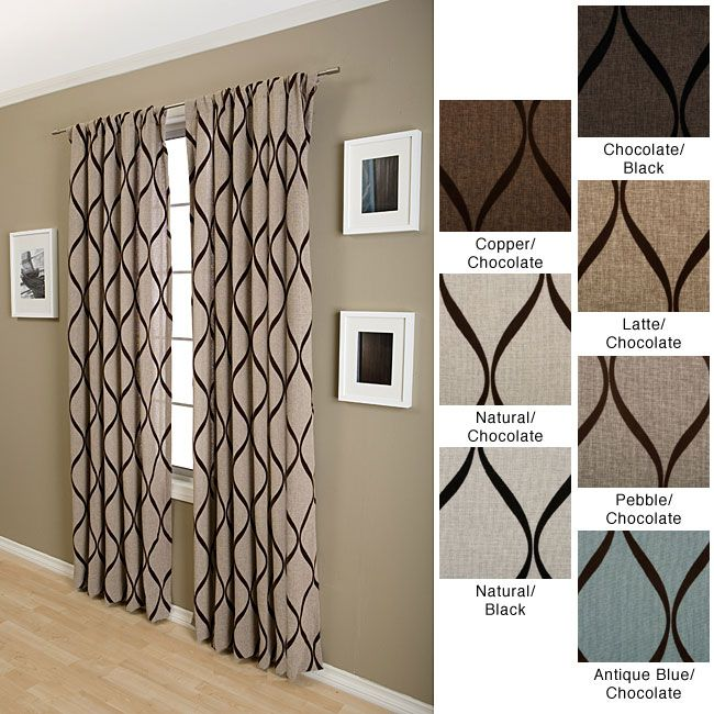 Sahara Rod Pocket 96-inch Curtain Panel (Natural w/ Black), Size 96 Inches (Cotton, Graphic Print)