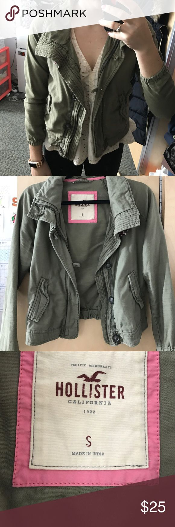 Army green Hollister Jacket Perfect for layering or throwing over a dress Hollister Jackets & Coats Utility Jackets