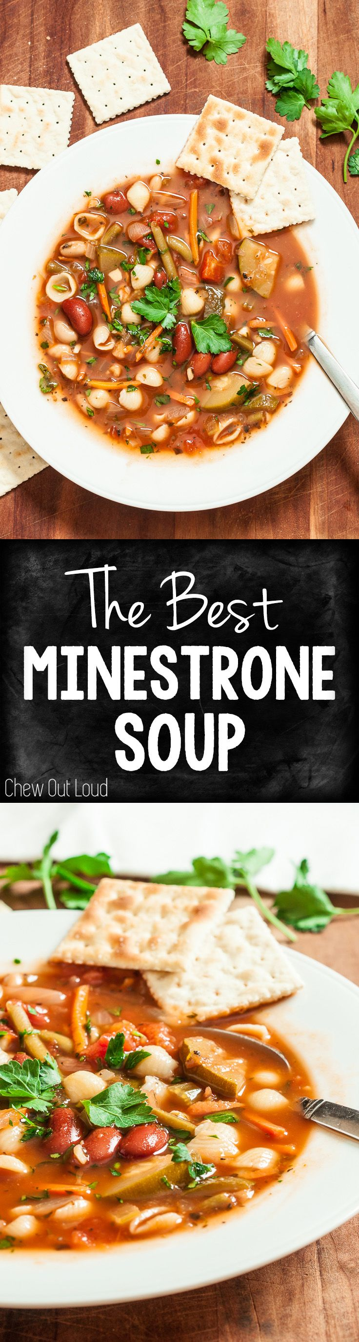 This homemade Minestrone Soup is way better than restaurant versions. It's hearty, healthy, clean, and big on flavor! Meatless never tasted so good.  #minestrone #soup #recipe