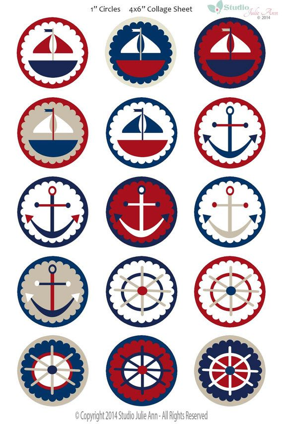 Nautical Sailing Digital Collage Sheet Sailboat by StudioJulieAnn, $2.50
