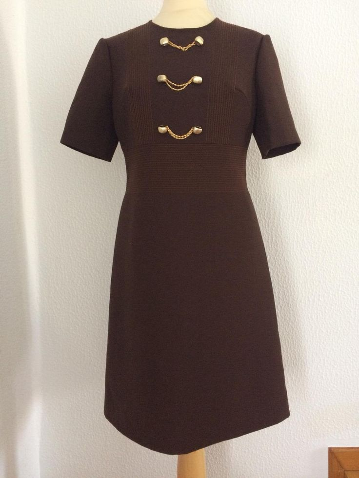 1960s Brown Cocktail Dress With Three Small Golden Chains. Jeune Femme Dress