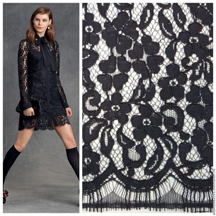 Купить Кордовое кружево с фестонами ткань Италия - черный, альта мода, от кутюр, ткани