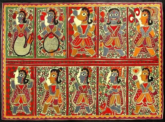 Dashavatara - The Ten Incarnation of Vishnu - Madhubani Paintings from Bihar,India