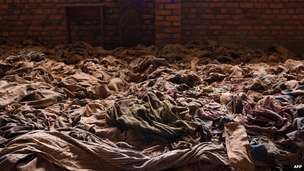 Clothes of victims of the genocide in Nyamata Church. Rwanda genocide- and the world watched.