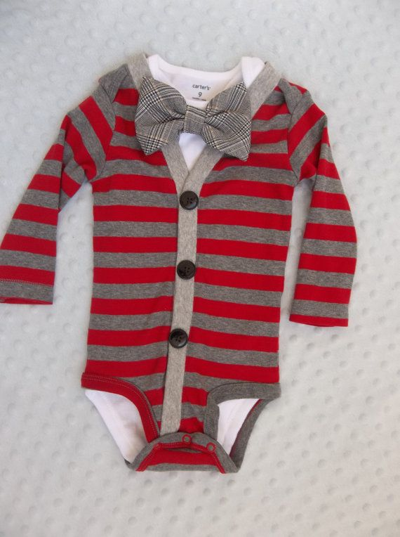 Baby Cardigan Bowtie Onesie Preppy Red and by groovyapplique, $34.00