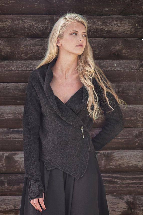 Knitted wool cardigan Organic wool wrap Natural black wool