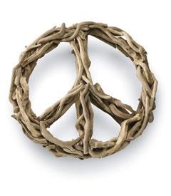 large driftwood peace symbol