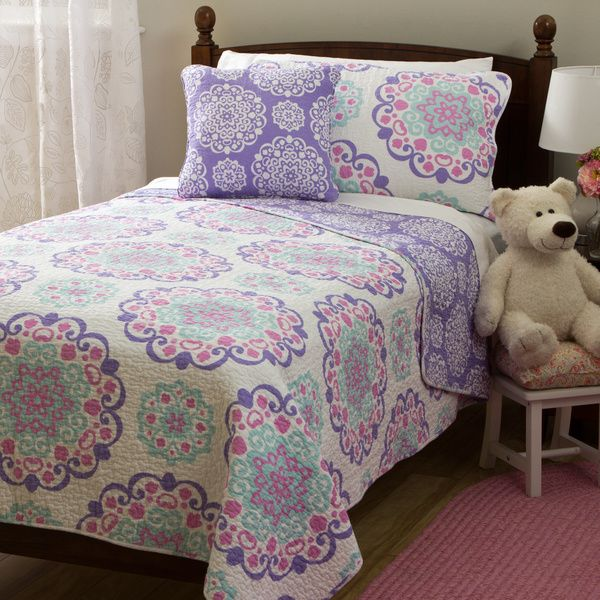 Vivian Cotton 4-piece Quilt Set - Overstock™ Shopping - The Best Prices on Kids' Quilts