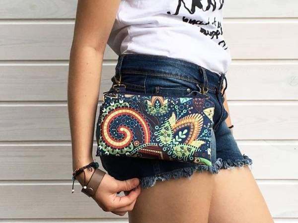 Handmade Canvas Crossbody and Belt Bag - Festival indian pattern Design