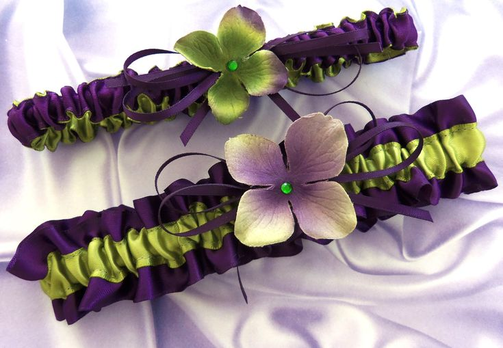 Deep purple and green Bridal Keepsake and Toss Garter Set, Bridal Wedding Accessories, Green Hydrangeas Bridal Accessory. $30.00, via Etsy.