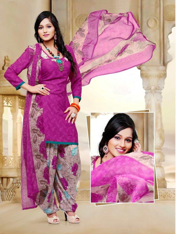 Pink Crepe Silk Patiala Suit 58794