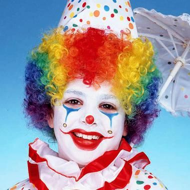 Bounce around the carnival in this Child's Rainbow Clown Wig. Wig features bright rainbow stripes and is made of 100% acrylic fiber. Please note that costume, hat and makeup are not included. One size