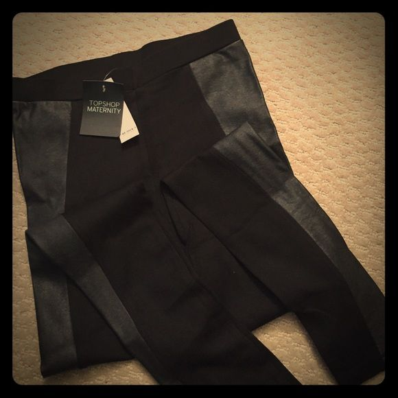 "TOPSHOP Maternity Leggings w/Faux Leather - Size 4 Super cute and brand new TOPSHOP Maternity black leggings woth faux leather accents down the sides. 1-1/4"" elastic waist, 30"" inseam. Topshop Maternity Pants Leggings"