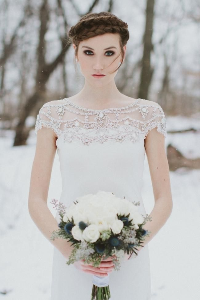 Winter Bridal Session featuring the Harlow Gown and accessories from BHLDN
