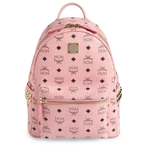 Women's Mcm Small Stark Side Stud Coated Canvas Backpack ($720) ❤ liked on Polyvore featuring bags, backpacks, soft pink, mcm rucksack, coated canvas backpack, red bags, pocket bag and pocket backpack