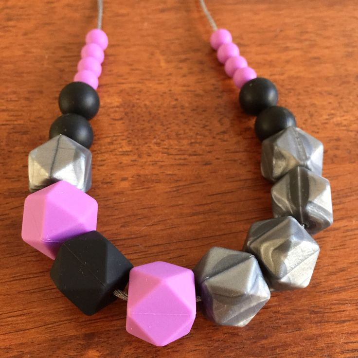 Fussy Little Fox Geo Hexagon Teething Necklace in graphite, lavender and black on silver nylon cord with silver safety catch. $27 + Free Shipping within Australia. Visit Fussy Little Fox on Facebook or email fussylittlefox@gmail.com to order! #fussylittlefox #bpafree #nontoxic #siliconeteethingnecklace #teething #soregums #baby #dribble #mum #fashion #necklace #chew #oralsensory #sensorychew #fussy #fussybaby #handmade #handmadewithlove