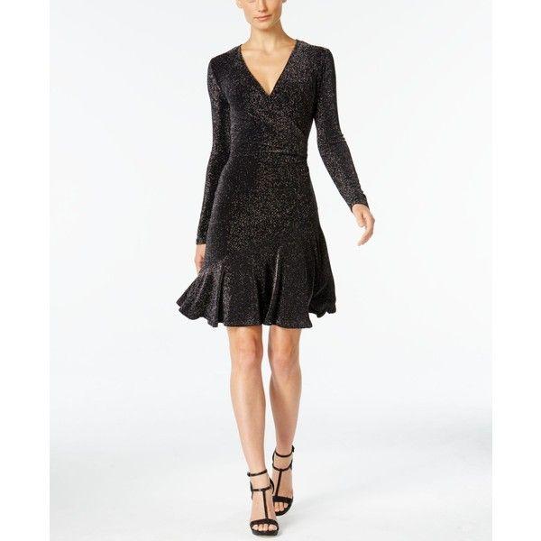 Michael Michael Kors Petite Flounce Wrap Dress ($93) ❤ liked on Polyvore featuring dresses, black, metallic cocktail dress, going out dresses, ruffle wrap dress, cocktail party dress and party dresses