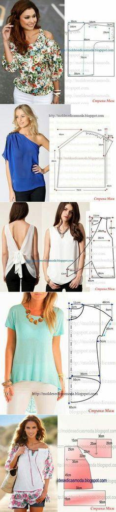 Sewing ideas. Patterns. How to make blouses!! DIY Tutorial. Como coser estas blusas, ideas para coser. Patrones de blusas.