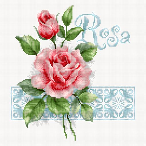 Rosa (Cross stitch free chart) -- download PDF file for chart and thread color code