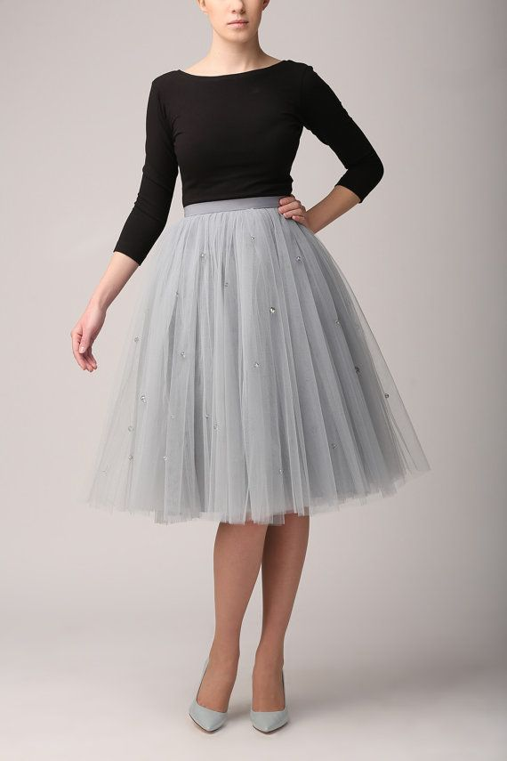 Grey tutu tulle skirt with crystals grey petticoat by Fanfaronada