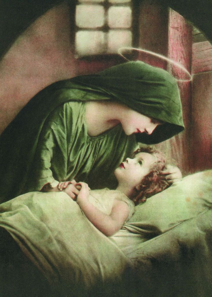Glossy full-color print of the Blessed Mother in Green with the Child Jesus. Image origins are unknown, but the original was a colorized photograph. Printed on Sterling Premium photo paper (made in U.