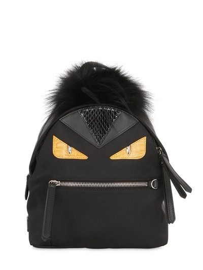 FENDI MINI MONSTER BACKPACK WITH FUR