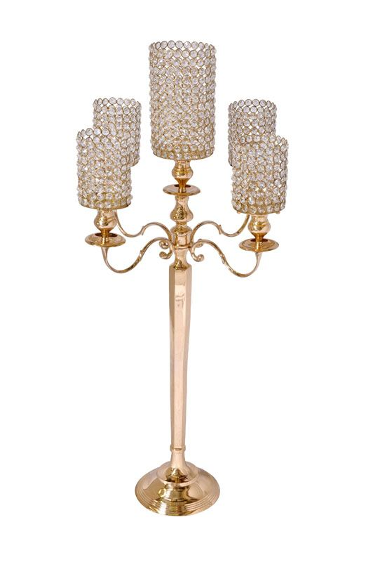 "Crystal and Gold Cylinder Candelabra Also available as 5 light candelabra without crystal cylinders Candelabra - 36"" tall"