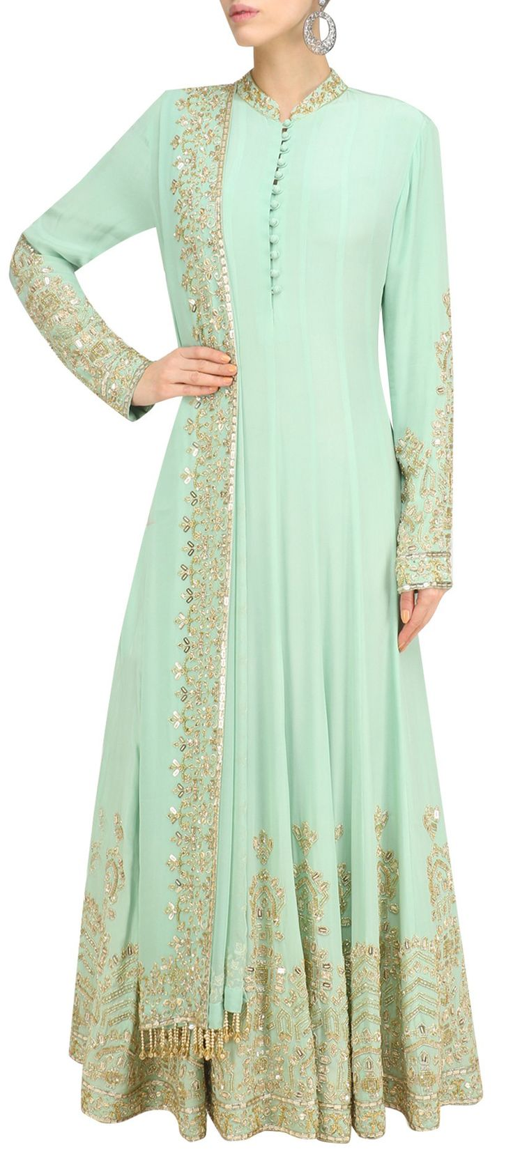 489699: Green  color family  stitched Anarkali Suits .