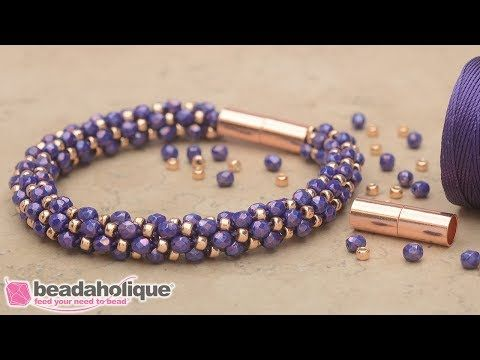 How to Make the Deluxe Spiral Beaded Kumihimo Bracelet Kits by Beadaholique - YouTube