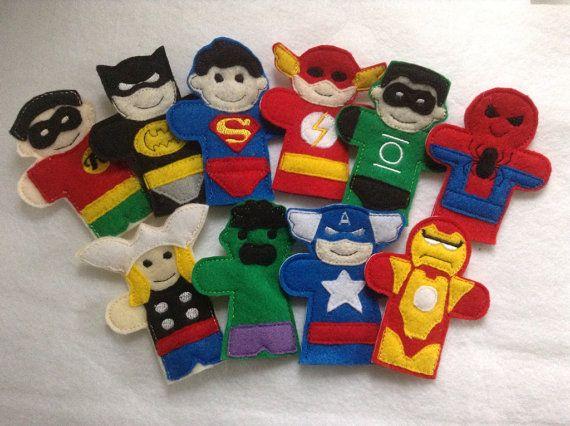 Complete set superheroes finger puppets by BabyRockCrafts on Etsy