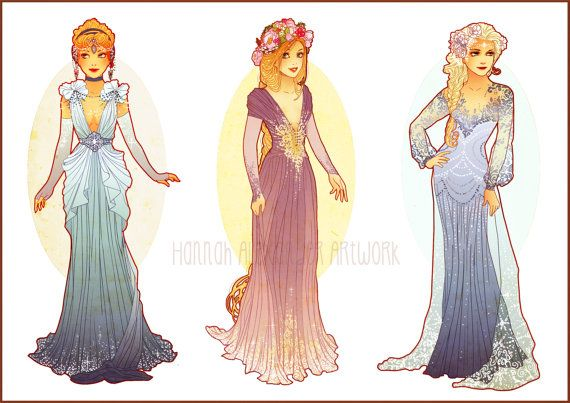 Postcards of Art Nouveau Disney Princesses by NeverBirdDesigns on Etsy