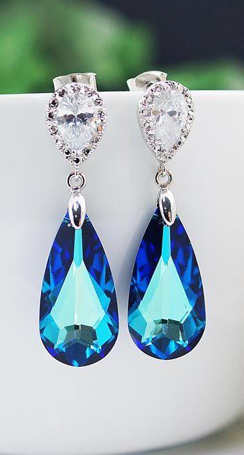 Bermuda Blue Swarovski Crystal Earrings from EarringsNation Bridal Earrings Bridesmaid Earrings