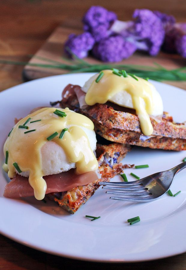 A beautifully delicious Breakfast Cauliflower Waffle with your choice of Eggs Benedict or Herbed Salmon Spread   Shared via http://www.ruled.me/