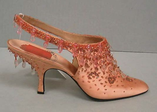 """Silk evening shoes with glass beads, by Roger Vivier for House of Dior, French, 1954.  Label: [imprint] """"Christian Dior, Paris"""""""