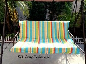 As summer will end soon ,I  finally got around to sharing this tutorial months after I completed the project.I made a simple  Cushion slip cover  for my outdoor swing .My outdoor swing cushion did not come with a cover and everytime it rained or there was