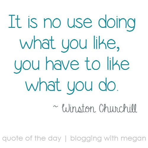 It is no use doing what you like, you have to like what you do. ~ Winston Churchill  #quote #quoteofthday