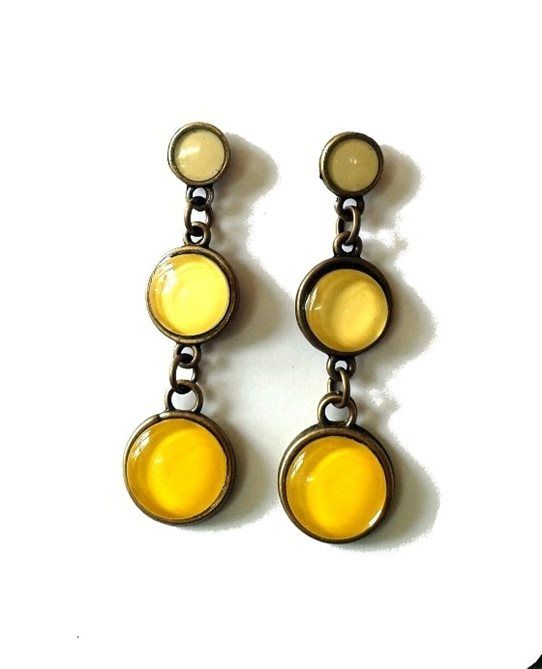 Pretty Birds Creations - Golden Sunshine Ombre Earrings from the Tropical Summer Collection at www.prettybirds.co.nz