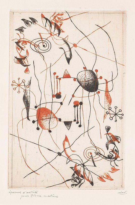 Joan Miró  (Spanish, Barcelona 1893–1983 Palma de Mallorca)    Serie noire et rouge, pour Pierre Matisse   1938