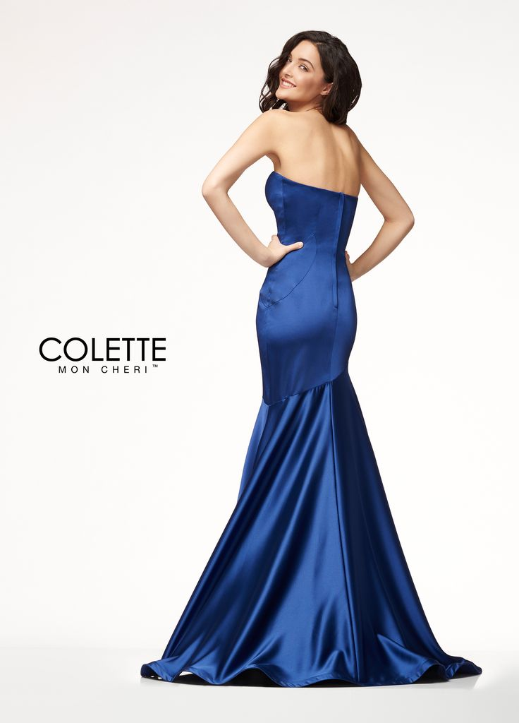 Colette for Mon Cheri CL18261 - This luxurious satin dress is a timeless classic. Featuring a beautifully fitted bodice with a defined sweetheart neckline and an asymmetrical skirt, you will be ready to take over the red carpet in this gorgeous dress!