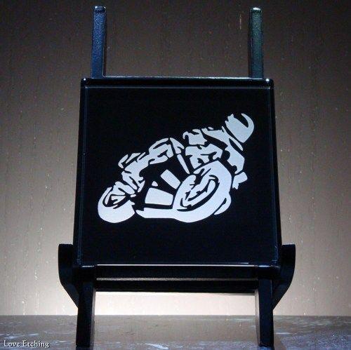 1 SPORT BIKE RIDER Etched Glass Black Wall Tile Sign Coaster Glass Art