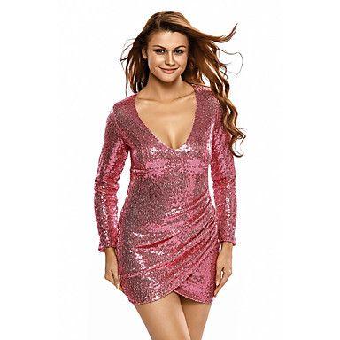 Dames+Club+Sexy+Bodycon+Jurk+Effen-V-hals+Mini+Lange+mouw+Zilver+Polyester+/+Spandex+Herfst+Hoge+taille+Rekbaar+Dun+–+EUR+€+24.69