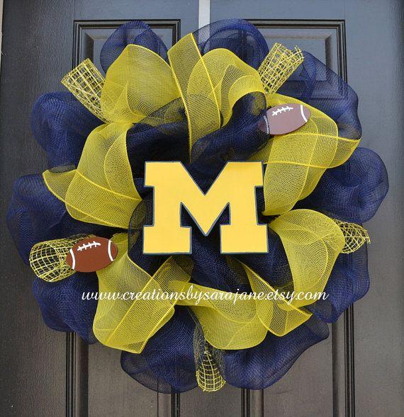 University of Michigan Wreath - Michigan Mesh Wreath - Mesh Collegiate Wreath on Etsy, $75.00
