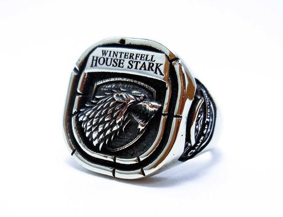 House of Stark Ring - Stark Ring, Game of Thrones, Houses of Westeros, Wolf Animal Ring, Direwolf ring, 925 sterling silver ring (R-41)